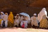 Outside a church in Lalibela